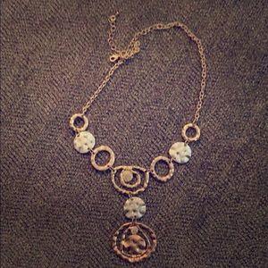 Tri-Tone Necklace with Small Rhinestones